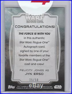 2016 Star Wars Rogue One Series One Death Star Black Auto Felicity Jones 15/50