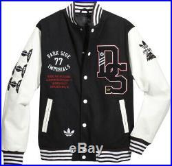 Adidas x Star Wars Super Death Star Baseball Jacket Varsity Wool Leather Coat