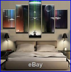 Large Framed Star Wars Yoda X-wing Tie Fighter Death Star Canvas Print Decor