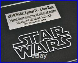 Rare STAR WARS IV Screen-Used Prop DEATH STAR, Signed GEORGE LUCAS COA Frame DVD