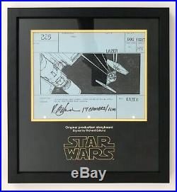 STAR WARS IV A New Hope Screen Used Death Star Battle Signed Storyboard Prop