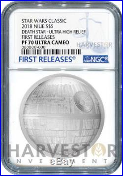 Star Wars Death Star Ultra High Relief 2 Oz. Coin Ngc Pf70 First Releases