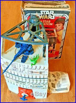 Star Wars Vintage Death Star Playset near COMPLETE Box & Figures Dianoga 1978