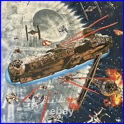 VTG 1997 Star Wars Death Star Liquid Blue Tie Dye Shirt Disney XL Deadstock NWT