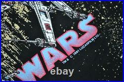 VTG Star Wars Shirt 1991 All Over Print Deathstar Black Mens XL DBL Sided X-Wing