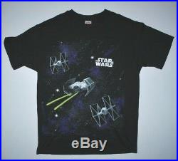 VTG Star Wars T Shirt All Over Print Deathstar 90s Movie Promo Darth Vader XL