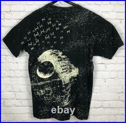 Vintage 90s Star Wars T Shirt 1991 All Over Print Deathstar Black Mens XL