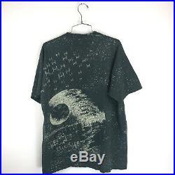 Vintage 90s Star Wars T Shirt 1991 All Over Print Size XL Deathstar Black Mens