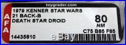 Vintage Kenner Star Wars 21 Back-B Death Star Droid AFA 80 NM (C75 B85 F85) #144
