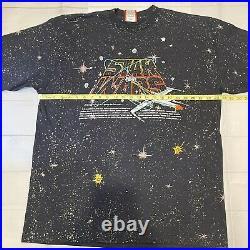 Vintage Star Wars Death Star X-Wing TShirt Disney Tag All Over Print OSFA XL USA